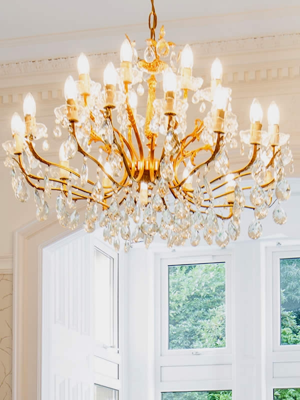 Reinstated chandeliers create a sense of grandeur and oppulence