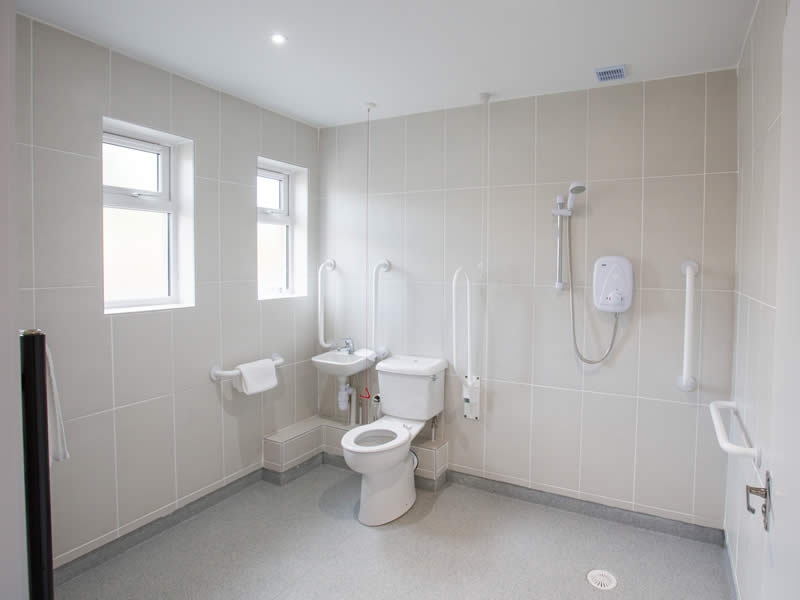 The wet room in the easy access suite can be used by wheelchair users